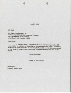Thumbnail of Letter from Mark H. McCormack to Gene Ochsenreiter