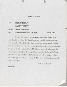 Thumbnail of Memorandum from Mark H. McCormack to Arthur J. Lafave, Edward J. Keating, H.             Richard Isaacson and Richard R. Alford