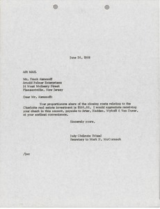 Thumbnail of Letter from Judy A. Chilcote to Frank Abramoff