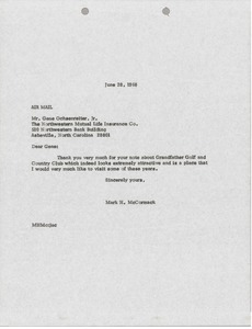 Thumbnail of Letter from Mark H. McCormack to Gene Ochsenteiter