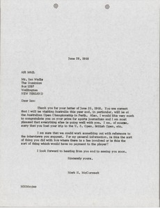 Thumbnail of Letter from Mark H. McCormack to Ian Wells