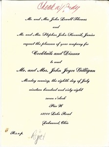 Thumbnail of Invitation to Cocktails and Dinner to meet John Joyce Gilligan