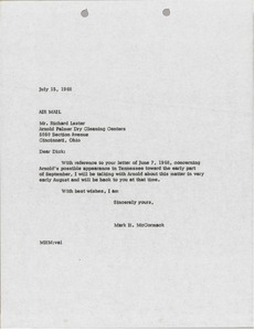 Thumbnail of Letter from Mark H. McCormack to Richard Lester
