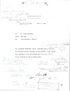 Thumbnail of Memorandum from Mary Ann Badalamenti to Mark H. McCormack