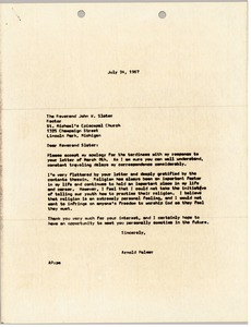 Thumbnail of Letter from Arnold Palmer to Reverend John W. Slater
