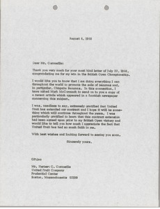 Thumbnail of Letter from Gary Player to Herbert C. Cornuelle