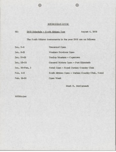 Thumbnail of Memorandum concerning 1969 Schedule - South African Tour