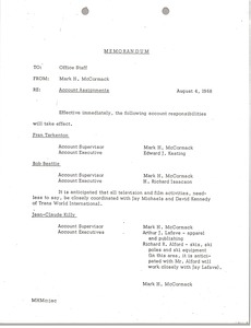 Thumbnail of Memorandum to office staff concerning account assignments