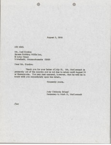 Thumbnail of Letter from Judy A. Chilcote to Joel Gordon