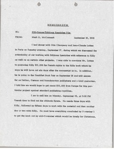Thumbnail of Memorandum from Mark H. McCormack concerning the Killy France file