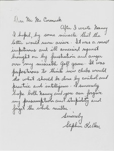 Thumbnail of Letter from Stephen M. Kelker to Mark H. McCormack