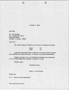 Letter from Mark H. McCormack to Bob Beattie