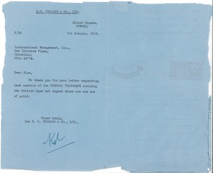 Thumbnail of Letter from DC Thomson to Judy Chilcote