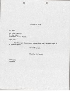 Thumbnail of Letter from Mark H. McCormack to Jack Nicklaus