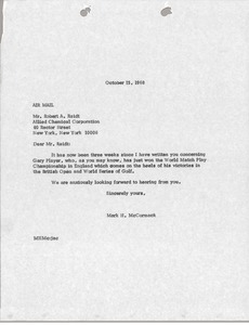 Thumbnail of Letter from Mark H. McCormack to Allied Chemical Corporation