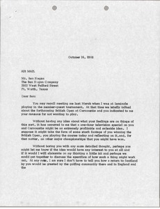 Thumbnail of Letter from Mark H. McCormack to Ben Hogan