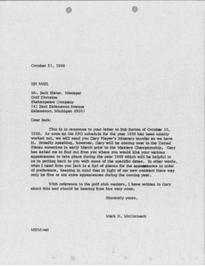 Thumbnail of Letter from Mark H. McCormack to Shakespeare Company