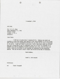 Thumbnail of Letter from Mark H. McCormack to Terry Bray