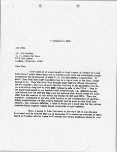 Thumbnail of Letter from Mark H. McCormack to Bob Beattie