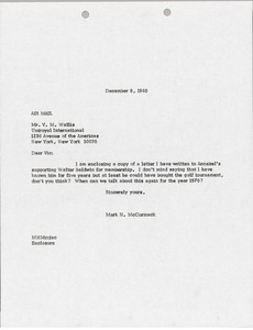 Thumbnail of Letter from Mark H. McCormack to Vic Wallis