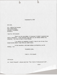 Letter from Mark H. McCormack to William McCormack
