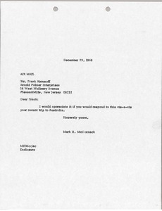 Thumbnail of Letter from Mark H. McCormack to Frank Abramoff
