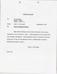 Thumbnail of Memorandum from Mark H. McCormack to Jay Michaels, Robert S. Burton and Arthur             J. Lafave