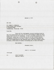 Thumbnail of Letter from Mark H. McCormack to Robert D. Robinson