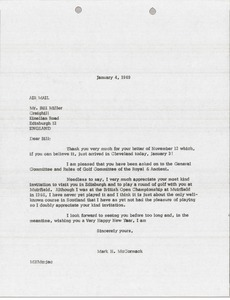 Thumbnail of Letter from Mark H. McCormack to Bill Miller