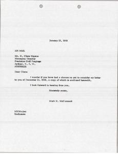 Thumbnail of Letter from Mark H. McCormack to Precision Golf Forgings