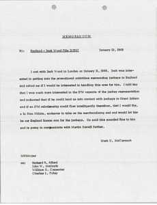 Thumbnail of Memorandum to England and Jack Wood file