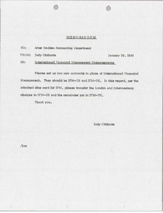 Thumbnail of Memorandum concerning International Financial Management disbursements