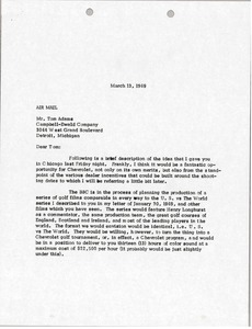 Thumbnail of Letter from Mark H. McCormack to Tom Adams