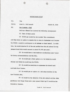 Thumbnail of Memorandum concerning Leo Lacroix and Vail