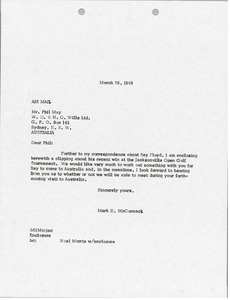 Thumbnail of Letter from Mark H. McCormack to Phil May