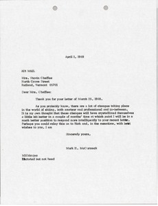 Thumbnail of Letter from Mark H. McCormack to Suzy Chaffee