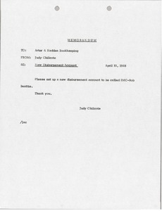 Thumbnail of Memorandum from Judy A. Chilcote to Arter-Hadden Bookkeeping