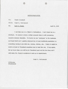 Thumbnail of Memorandum from Mark H. McCormack to Clyde Comstock
