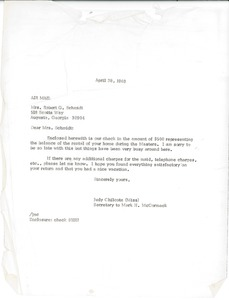 Thumbnail of Letter from Judy A. Chilcote to Robert G. Schmidt