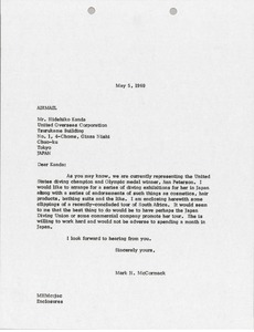 Thumbnail of Letter from Mark H. McCormack to United Overseas Corporation