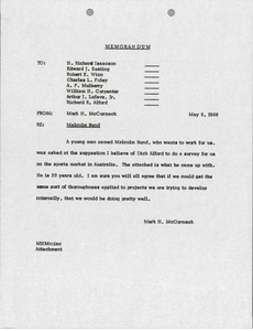 Thumbnail of Memorandum from Mark H. McCormack concerning Malcolm Bund