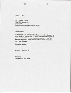 Thumbnail of Letter from Mark H. McCormack to Warren Orlick