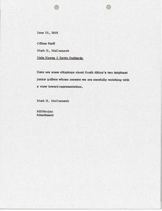 Thumbnail of Memorandum from Mark H. McCormack to Office Staff