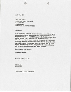 Thumbnail of Letter from Mark H. McCormack to Rex Evans