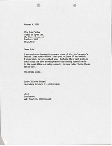 Thumbnail of Letter from Judy A. Chilcote to Bob Ferrier