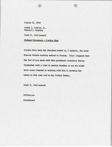Thumbnail of Memorandum from Mark H. McCormack to Arthur J. Lafave and Edward J. Keating