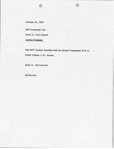 Thumbnail of Memorandum from Mark H. McCormack to 1970 schedule file