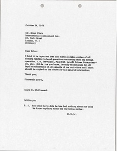 Thumbnail of Letter from Mark H. McCormack to Brian S. Clark