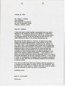 Thumbnail of Letter from Mark H. McCormack to Ralph F. Lafferty