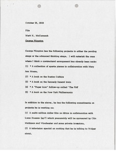 Thumbnail of Memorandum from Mark H. McCormack to George Plimpton file